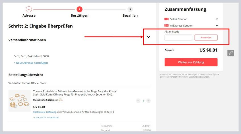 Aliexpress Aktionscode